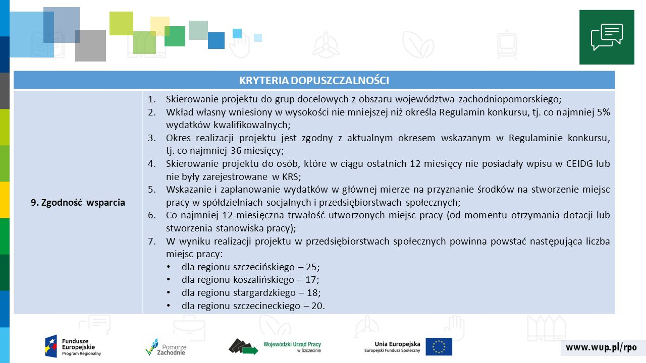 www.wup.pl/rpo KRYTERIA DOPUSZCZALNOŚCI 9.