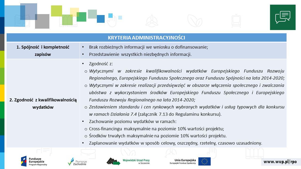 www.wup.pl/rpo KRYTERIA ADMINISTRACYJNOŚCI 1.