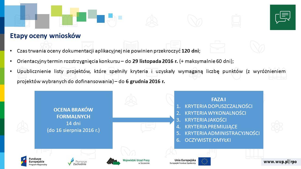 www.wup.pl/rpo Etapy oceny wniosków Czas trwania oceny dokumentacji aplikacyjnej nie powinien przekroczyć 120 dni; Orientacyjny termin rozstrzygnięcia konkursu – do 29 listopada 2016 r.