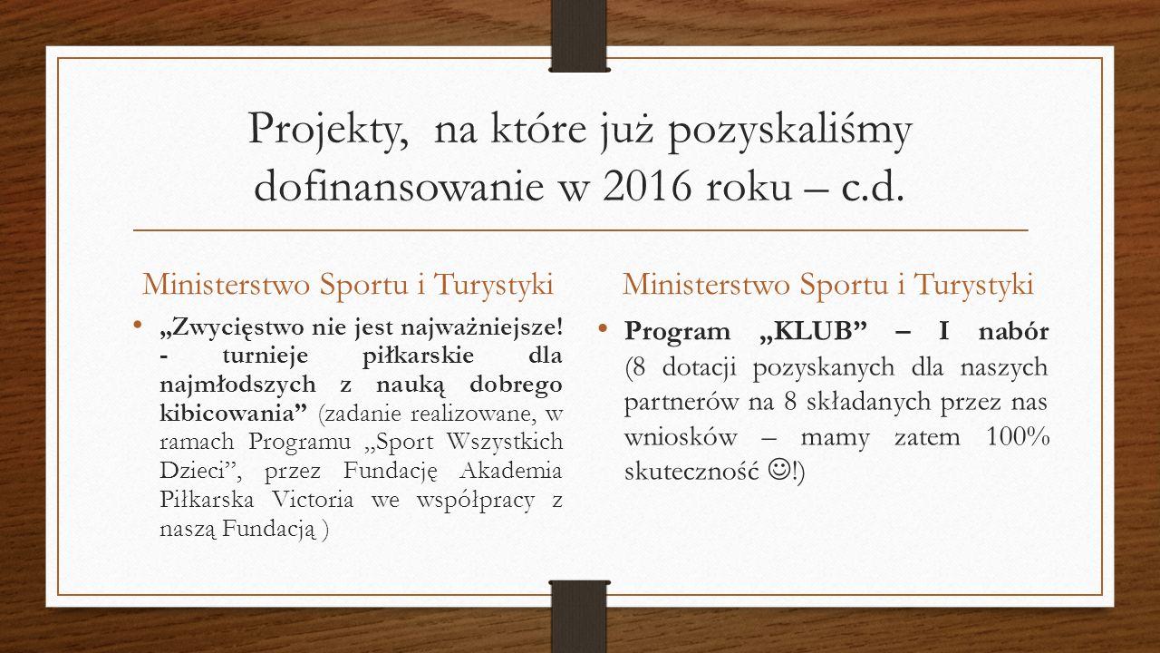 """Projekty, na które już pozyskaliśmy dofinansowanie w 2016 roku – c.d. Ministerstwo Sportu i Turystyki """"Zwycięstwo nie jest najważniejsze! - turnieje p"""