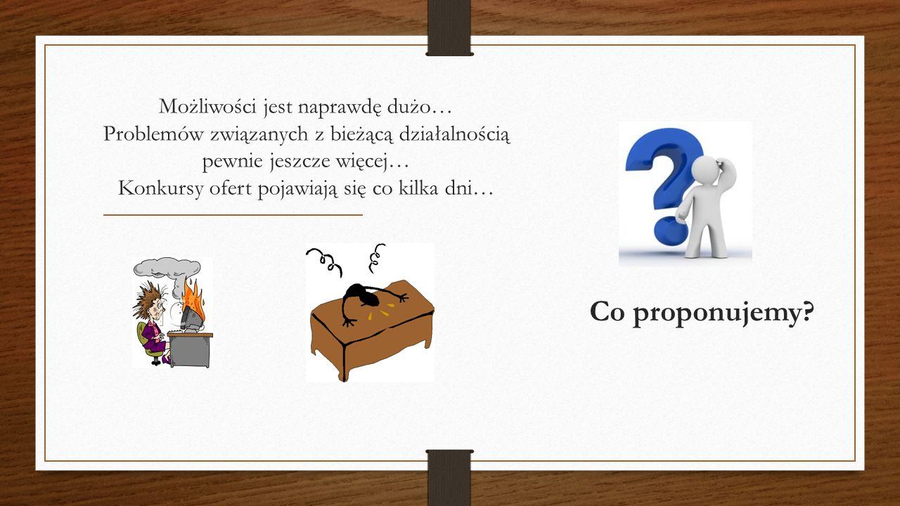 Możliwości jest naprawdę dużo… Problemów związanych z bieżącą działalnością pewnie jeszcze więcej… Konkursy ofert pojawiają się co kilka dni… Co proponujemy?