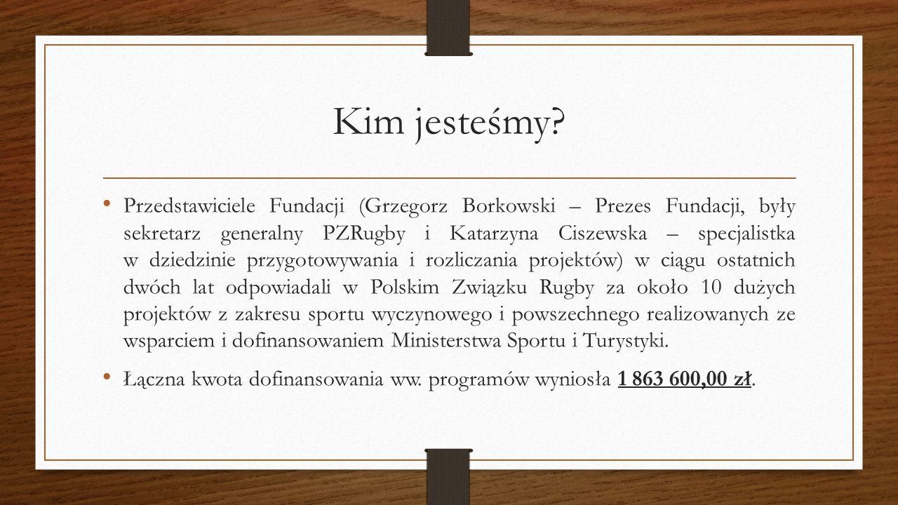 Kim jesteśmy? Przedstawiciele Fundacji (Grzegorz Borkowski – Prezes Fundacji, były sekretarz generalny PZRugby i Katarzyna Ciszewska – specjalistka w