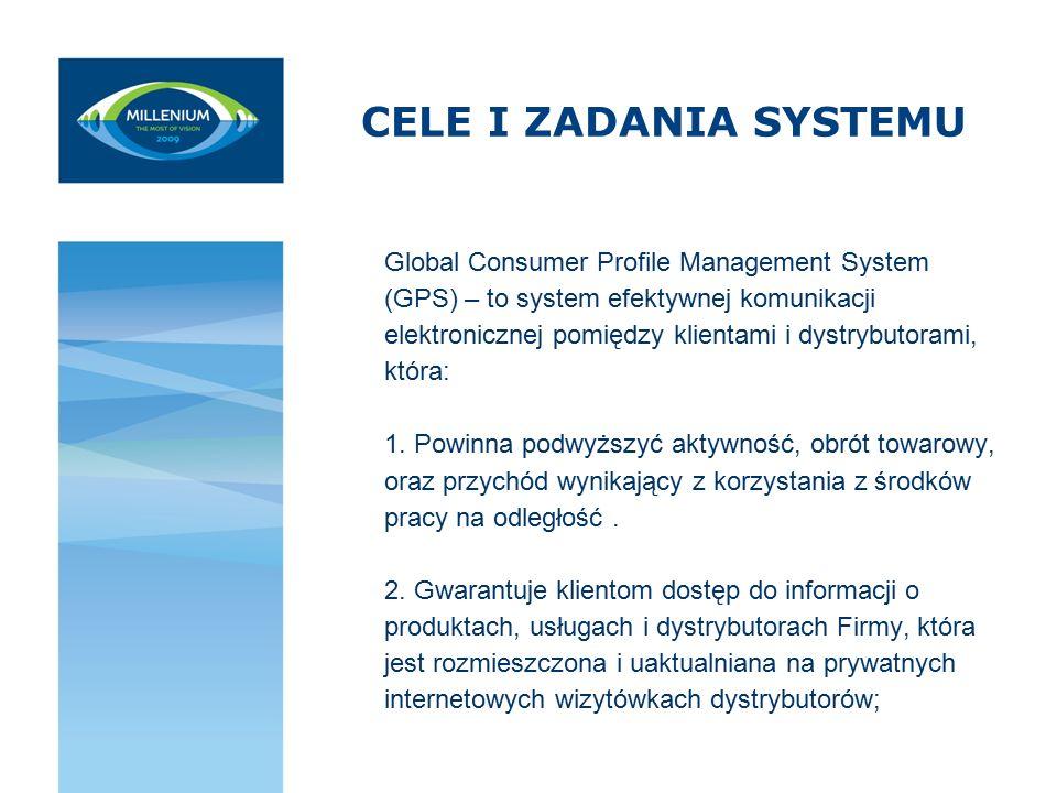 CELE I ZADANIA SYSTEMU Global Consumer Profile Management System (GPS) – to system efektywnej komunikacji elektronicznej pomiędzy klientami i dystrybu