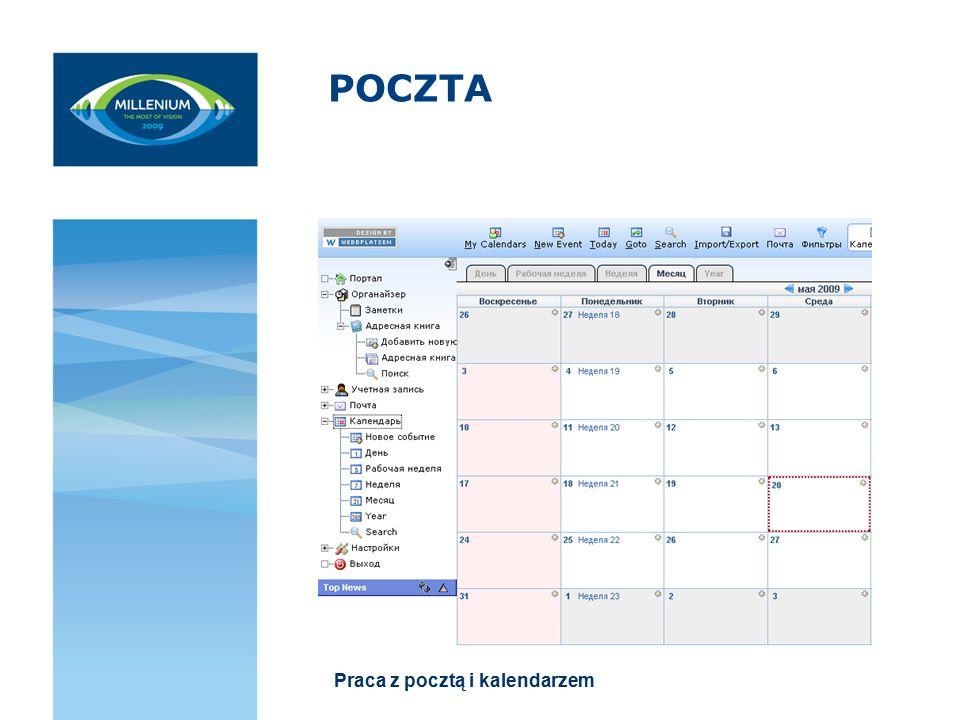 POCZTA Praca z pocztą i kalendarzem