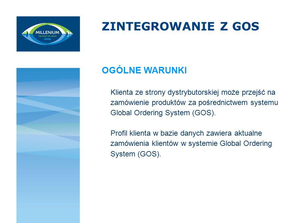 ZINTEGROWANIE Z GOS Klienta ze strony dystrybutorskiej może przejść na zamówienie produktów za pośrednictwem systemu Global Ordering System (GOS). Pro