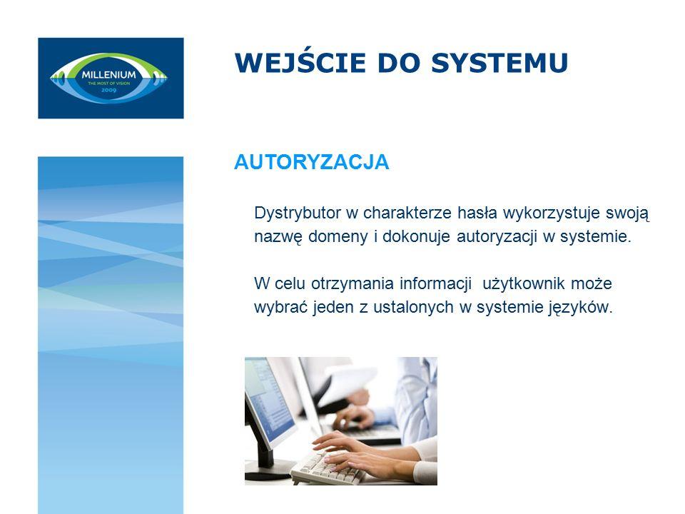 WEJŚCIE DO SYSTEMU Dystrybutor w charakterze hasła wykorzystuje swoją nazwę domeny i dokonuje autoryzacji w systemie. W celu otrzymania informacji uży