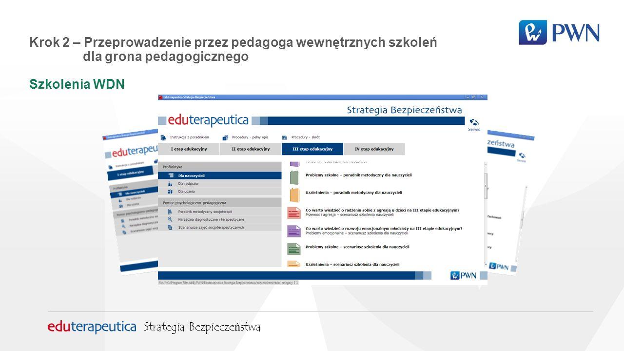 Krok 2 – Przeprowadzenie przez pedagoga wewnętrznych szkoleń dla grona pedagogicznego Szkolenia WDN