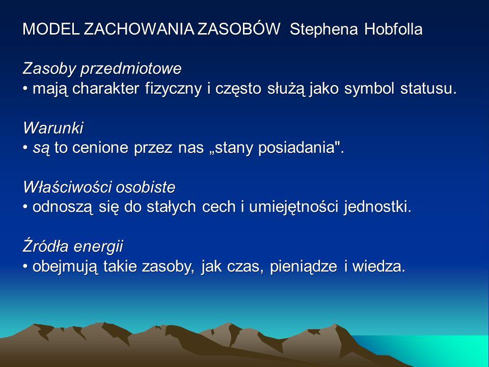 MODEL ZACHOWANIA ZASOBÓW Stephena Hobfolla Zasoby przedmiotowe mają charakter fizyczny i często służą jako symbol statusu. mają charakter fizyczny i c