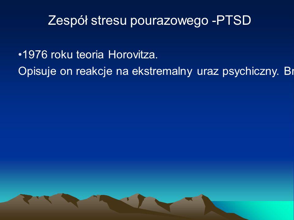 Zespół stresu pourazowego -PTSD 1976 roku teoria Horovitza. Opisuje on reakcje na ekstremalny uraz psychiczny. Brak możliwości przetwarzania informacj