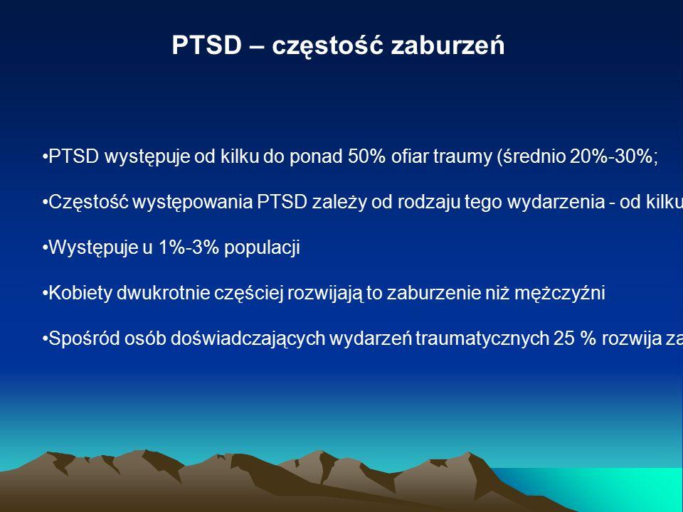 PTSD – częstość zaburzeń PTSD występuje od kilku do ponad 50% ofiar traumy (średnio 20%-30%; Częstość występowania PTSD zależy od rodzaju tego wydarzenia - od kilku do około 20% w przypadku katastrofy naturalnej (np.