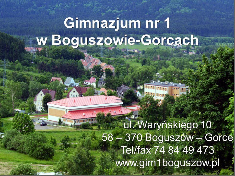 Gimnazjum nr 1 w Boguszowie-Gorcach ul. Waryńskiego 10 58 – 370 Boguszów – Gorce Tel/fax 74 84 49 473 www.gim1boguszow.pl
