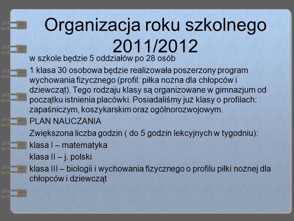 Organizacja roku szkolnego 2011/2012 w szkole będzie 5 oddziałów po 28 osób 1 klasa 30 osobowa będzie realizowała poszerzony program wychowania fizycznego (profil: piłka nożna dla chłopców i dziewcząt).