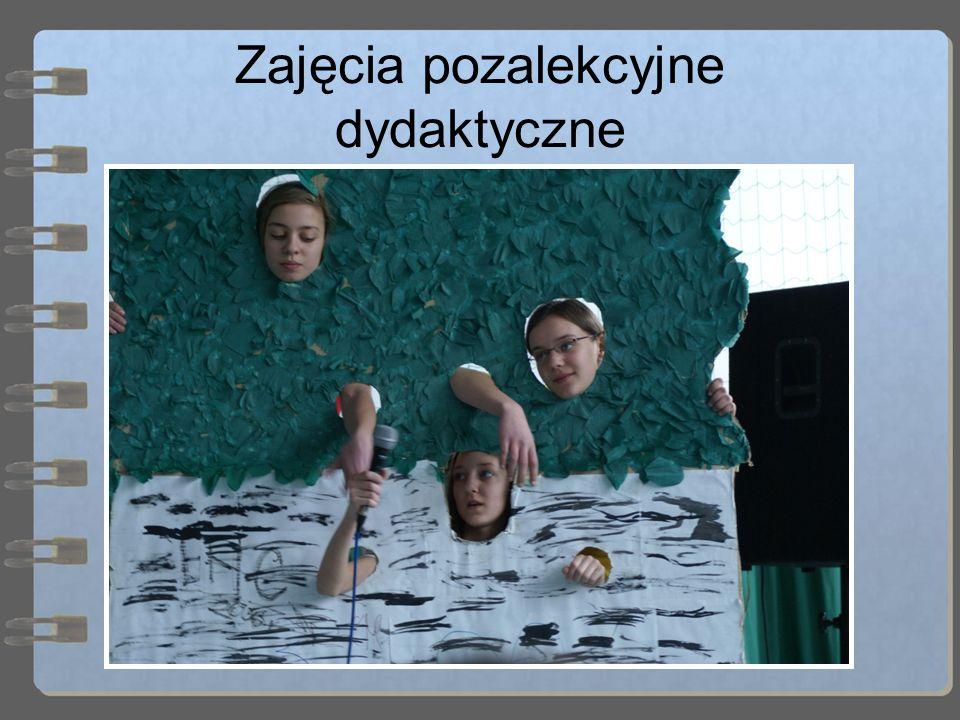 Zajęcia pozalekcyjne dydaktyczne W szkole prowadzone są rozmaite zajęcia pozalekcyjne: Plastyczne Informatyczne Chemiczne Klub Młodego Odkrywcy Teatra