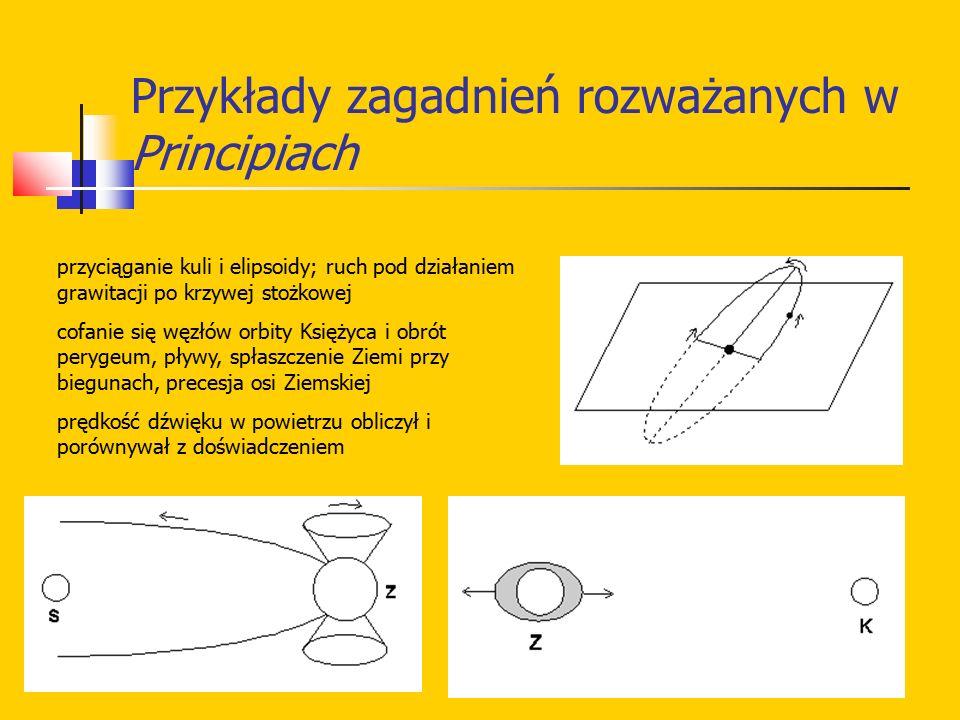 Przykłady zagadnień rozważanych w Principiach przyciąganie kuli i elipsoidy; ruch pod działaniem grawitacji po krzywej stożkowej cofanie się węzłów or