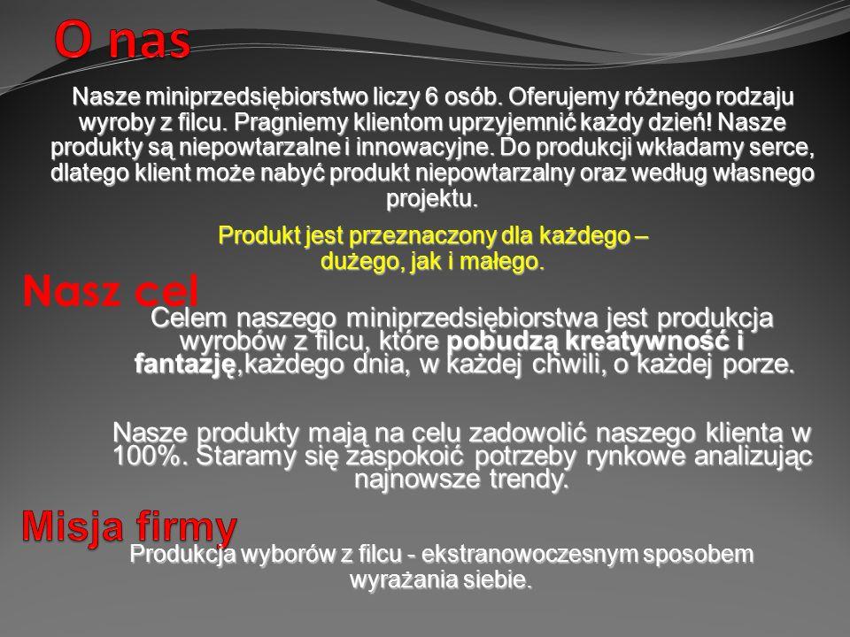 Nasze miniprzedsiębiorstwo liczy 6 osób. Oferujemy różnego rodzaju wyroby z filcu.