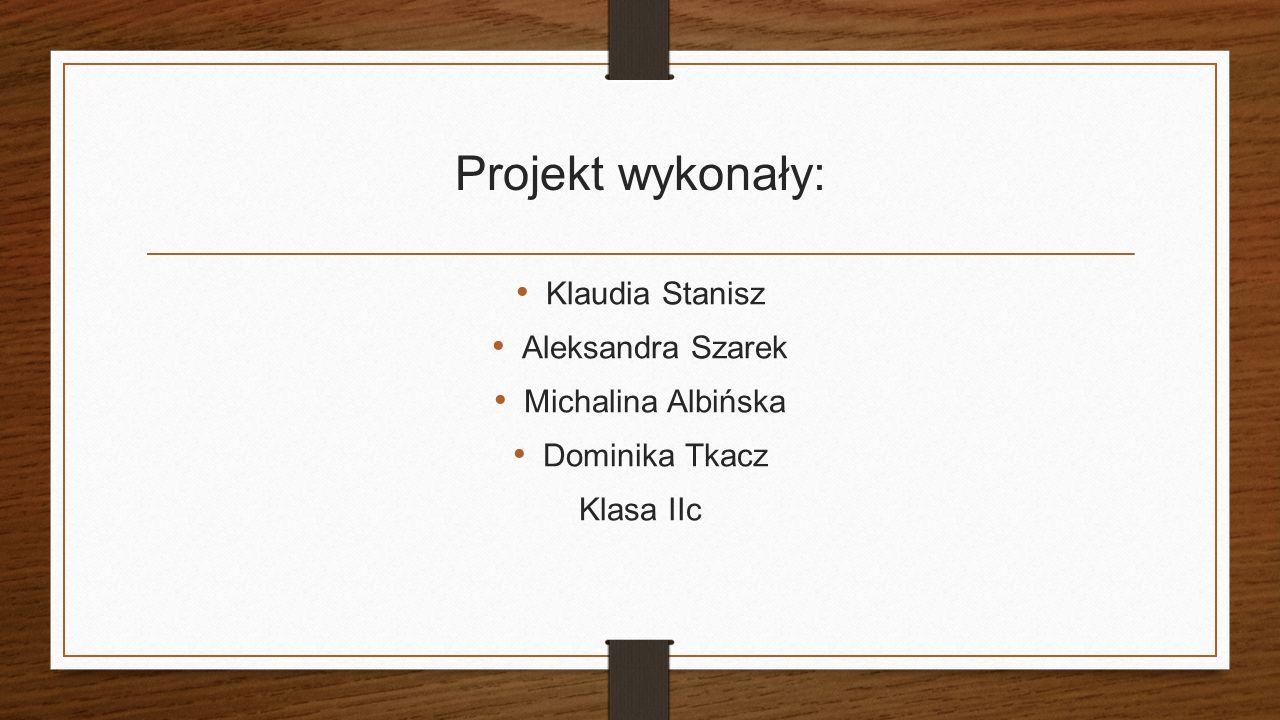 Projekt wykonały: Klaudia Stanisz Aleksandra Szarek Michalina Albińska Dominika Tkacz Klasa IIc