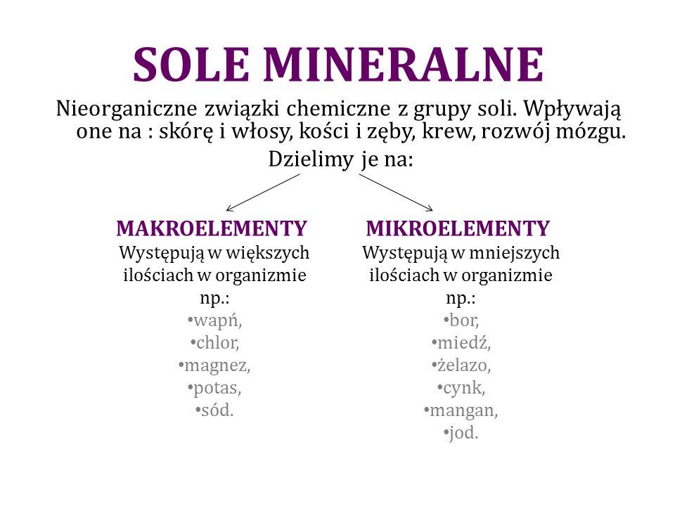 SOLE MINERALNE Nieorganiczne związki chemiczne z grupy soli.