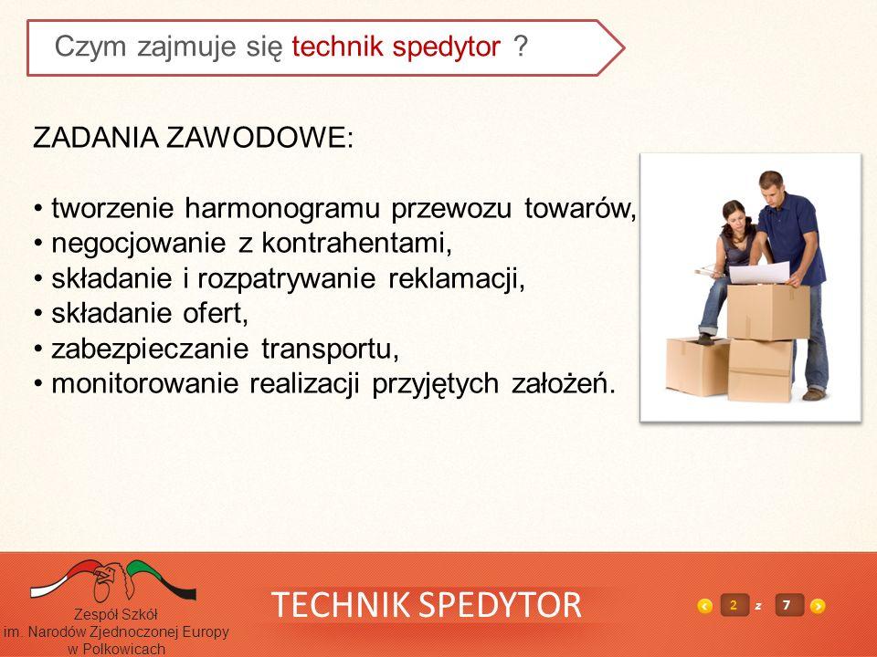TECHNIK SPEDYTOR 2z7 Zespół Szkół im. Narodów Zjednoczonej Europy w Polkowicach Czym zajmuje się technik spedytor ? ZADANIA ZAWODOWE: tworzenie harmon