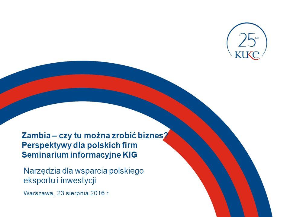 KUKE – polska ECA (Export Credit Agency, agencja kredytów eksportowych)  ECA – rządowe lub quasi rządowe instytucje powołane w celu wspierania eksportu towarów i usług z danego kraju  KUKE pierwszy wyspecjalizowany ubezpieczyciel należności w Polsce jako jedyna instytucja w Polsce posiada ustawowy mandat do prowadzenia ubezpieczeń gwarantowanych przez Skarb Państwa 200 krajów świata Skarb Państwa jako właściciel i nadzorujący działalność  KUKE: ubezpiecza eksportowe i krajowe należności handlowe także w krajach podwyższonego ryzyka polskich eksporterów /ryzyko braku zapłaty należności z odroczonym terminem płatności/ poprzez ubezpieczenie kredytu bankowego dla zagranicznego kontrahenta, umożliwia pozyskanie długoterminowego kredytu na finansowanie kontraktów eksportowych realizowanych przez polskich eksporterów dóbr kapitałowych i usług chroni inwestycje zagraniczne polskich inwestorów udziela gwarancji ubezpieczeniowych oferuje krótkoterminowy faktoring w ramach KUKE Finance 2