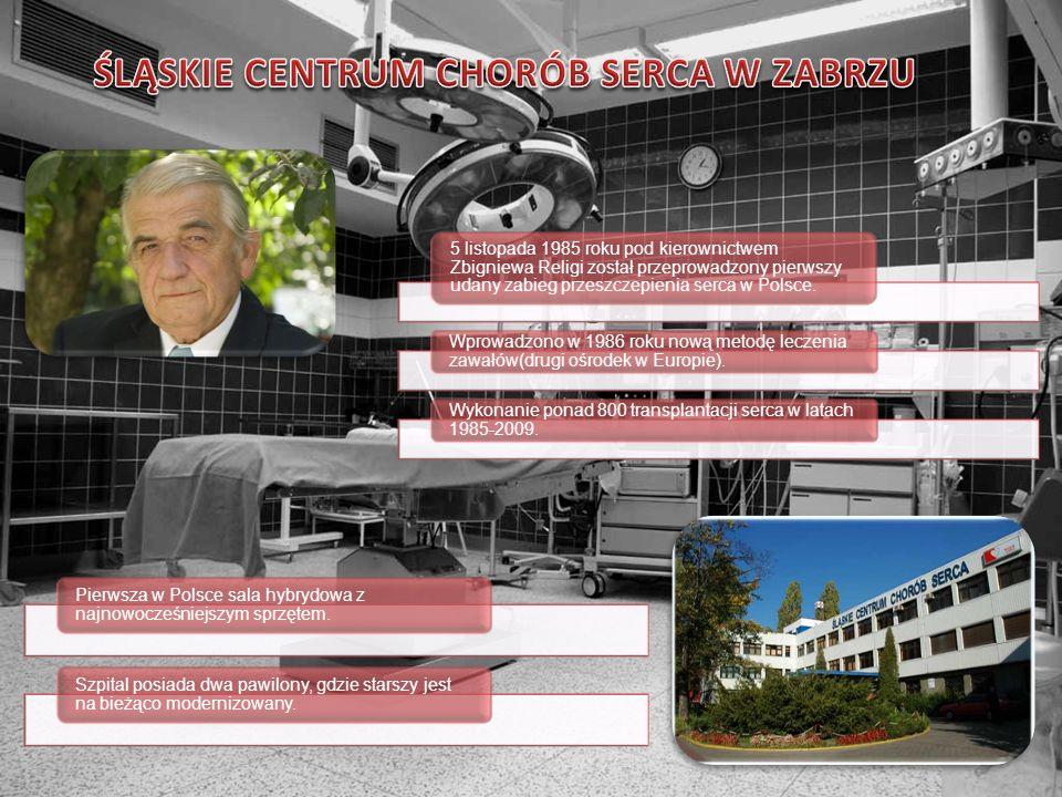 5 listopada 1985 roku pod kierownictwem Zbigniewa Religi został przeprowadzony pierwszy udany zabieg przeszczepienia serca w Polsce. Wprowadzono w 198