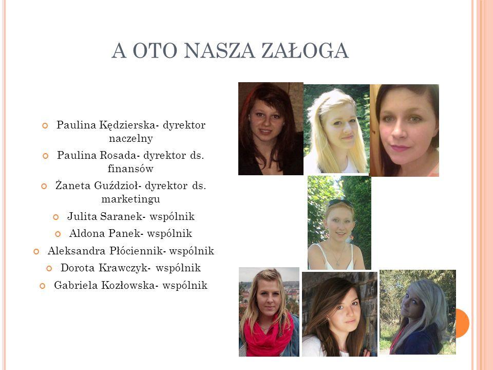 A OTO NASZA ZAŁOGA Paulina Kędzierska- dyrektor naczelny Paulina Rosada- dyrektor ds.