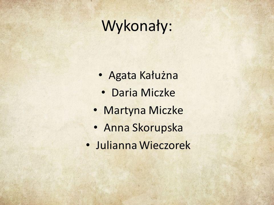 Wykonały: Agata Kałużna Daria Miczke Martyna Miczke Anna Skorupska Julianna Wieczorek
