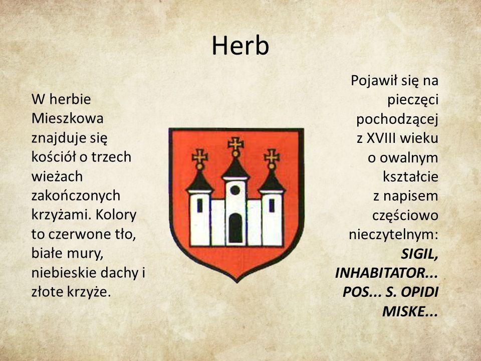 Herb W herbie Mieszkowa znajduje się kościół o trzech wieżach zakończonych krzyżami.
