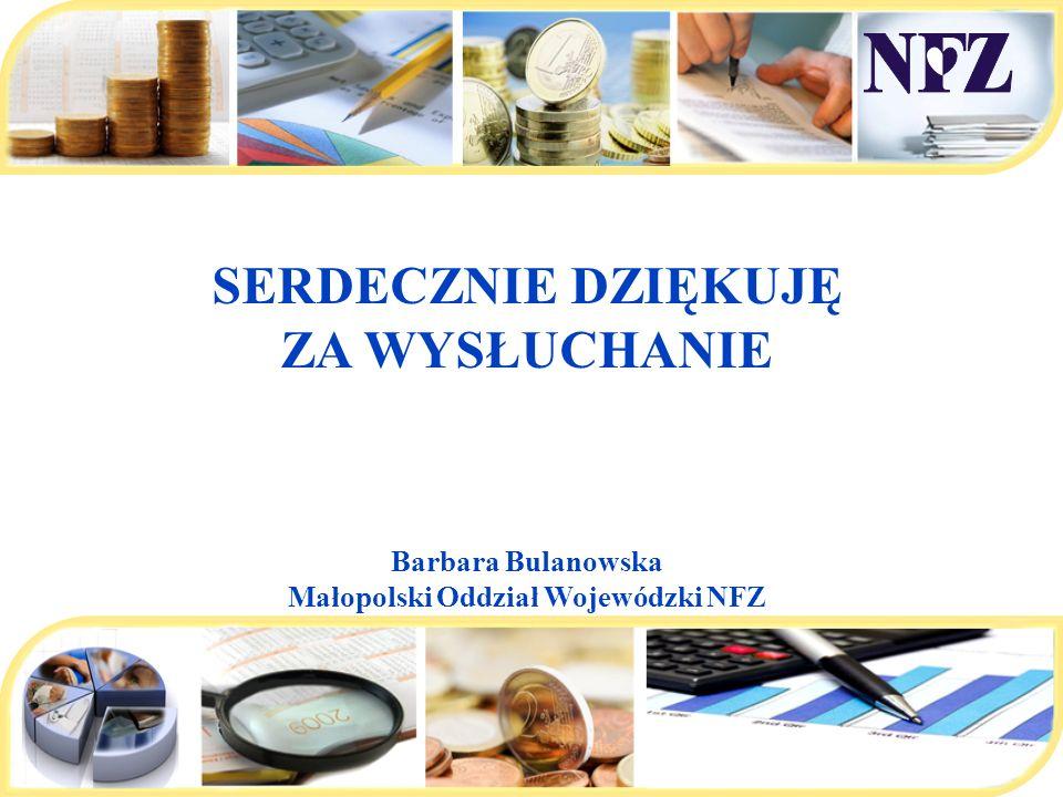 SERDECZNIE DZIĘKUJĘ ZA WYSŁUCHANIE Barbara Bulanowska Małopolski Oddział Wojewódzki NFZ