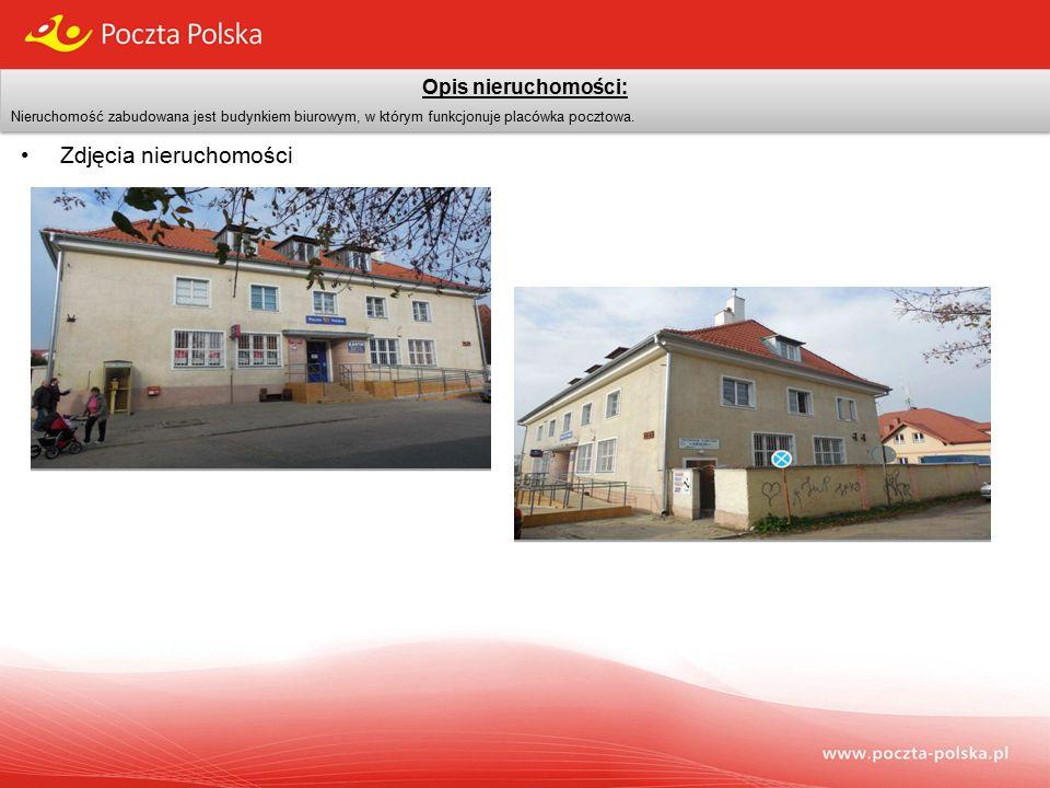 Opis nieruchomości: Nieruchomość zabudowana jest budynkiem biurowym, w którym funkcjonuje placówka pocztowa.