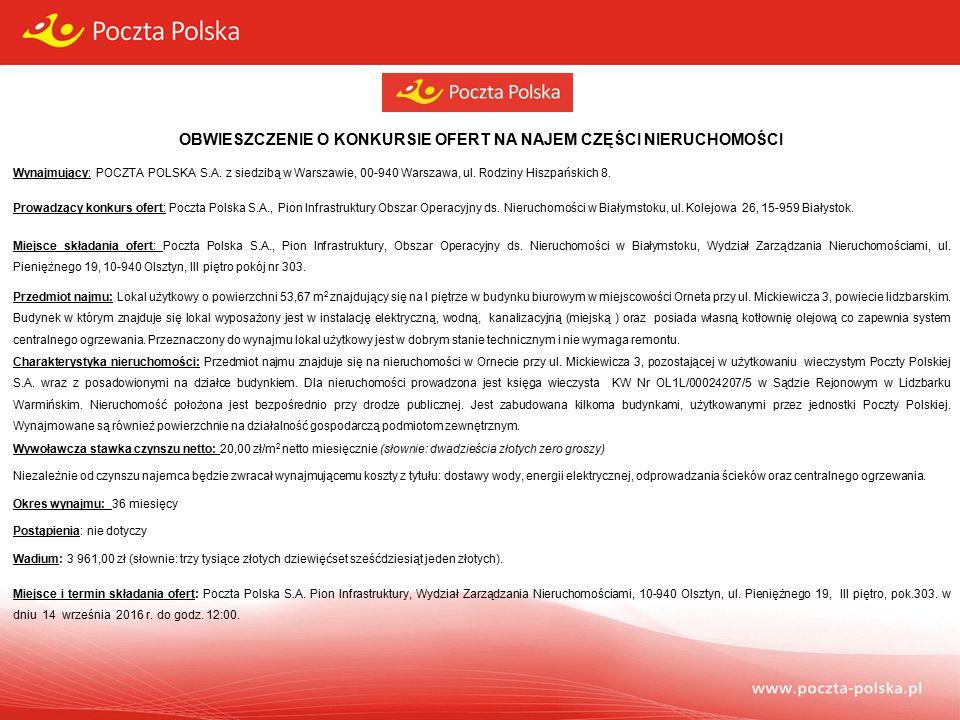 OBWIESZCZENIE O KONKURSIE OFERT NA NAJEM CZĘŚCI NIERUCHOMOŚCI Wynajmujący: POCZTA POLSKA S.A.