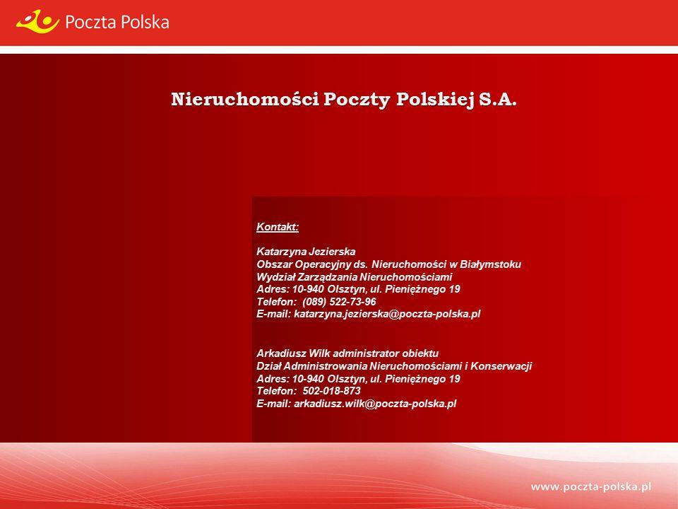 Nieruchomości Poczty Polskiej S.A. Kontakt: Katarzyna Jezierska Obszar Operacyjny ds.
