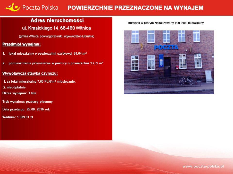 Opis przedmiotu wynajmu: Lokal mieszkalny usytuowany jest na budynku stanowiącego własność Poczty Polskiej S.A.