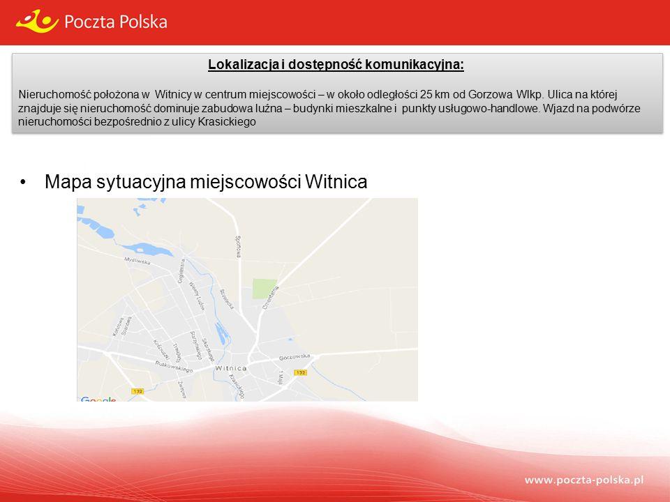 Lokalizacja i dostępność komunikacyjna: Nieruchomość położona w Witnicy w centrum miejscowości – w około odległości 25 km od Gorzowa Wlkp.