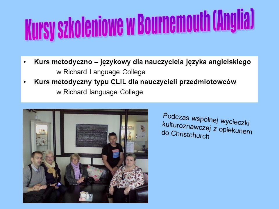Kurs metodyczno – językowy dla nauczyciela języka angielskiego w Richard Language College Kurs metodyczny typu CLIL dla nauczycieli przedmiotowców w Richard language College Podczas wspólnej wycieczki kulturoznawczej z opiekunem do Christchurch