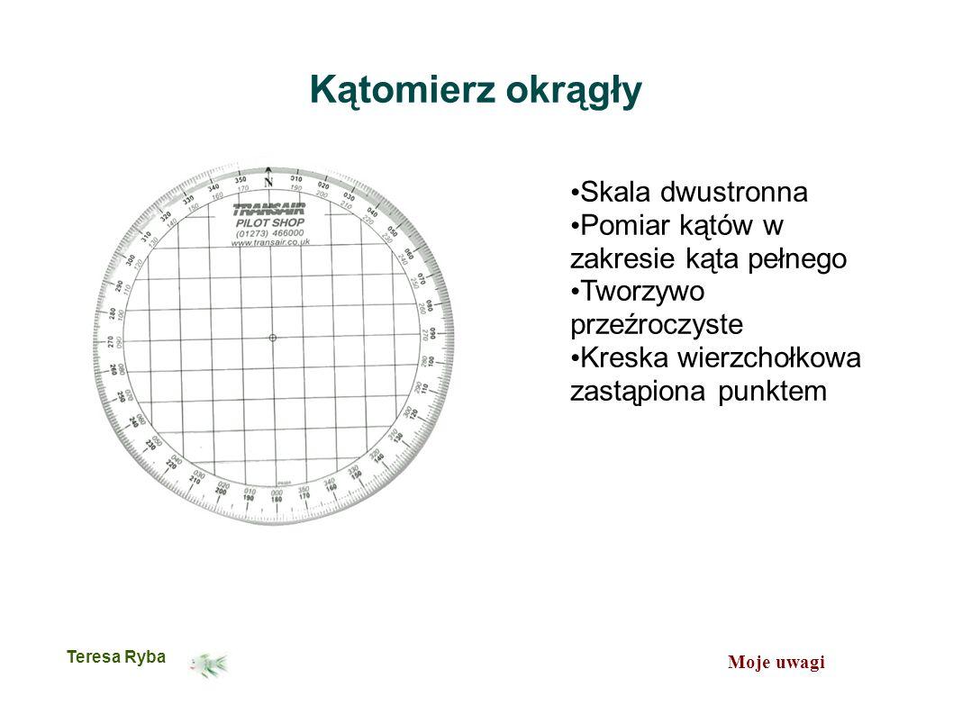 Moje uwagi Teresa Ryba Kątomierz okrągły Skala dwustronna Pomiar kątów w zakresie kąta pełnego Tworzywo przeźroczyste Kreska wierzchołkowa zastąpiona punktem