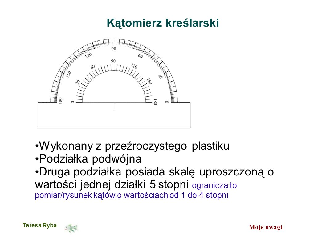 Moje uwagi Teresa Ryba Kątomierz kreślarski Wykonany z przeźroczystego plastiku Podziałka podwójna Druga podziałka posiada skalę uproszczoną o wartości jednej działki 5 stopni ogranicza to pomiar/rysunek kątów o wartościach od 1 do 4 stopni