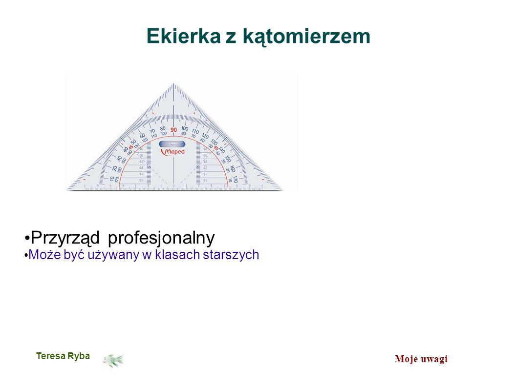 Moje uwagi Teresa Ryba Ekierka z kątomierzem Przyrząd profesjonalny Może być używany w klasach starszych