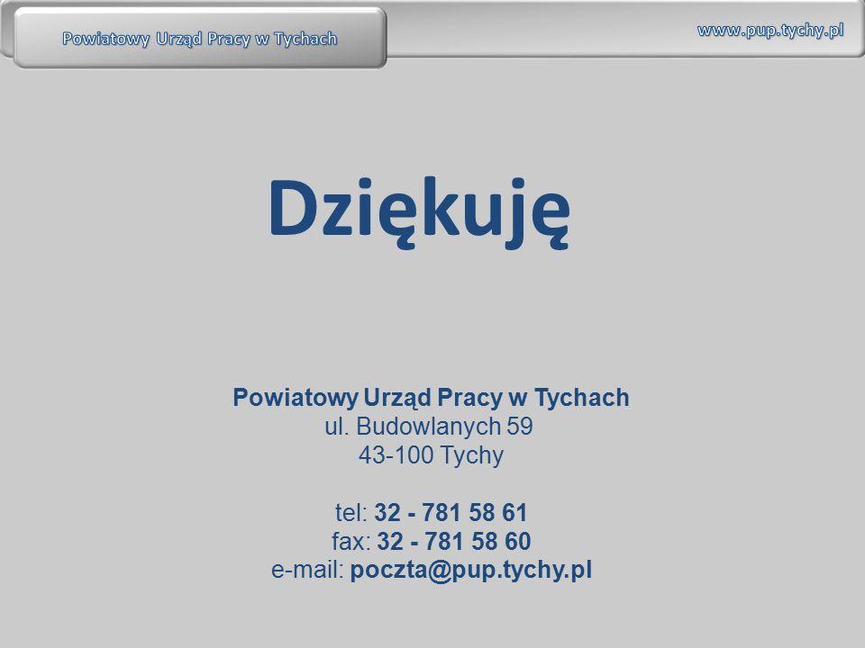 Dziękuję Powiatowy Urząd Pracy w Tychach ul. Budowlanych 59 43-100 Tychy tel: 32 - 781 58 61 fax: 32 - 781 58 60 e-mail: poczta@pup.tychy.pl