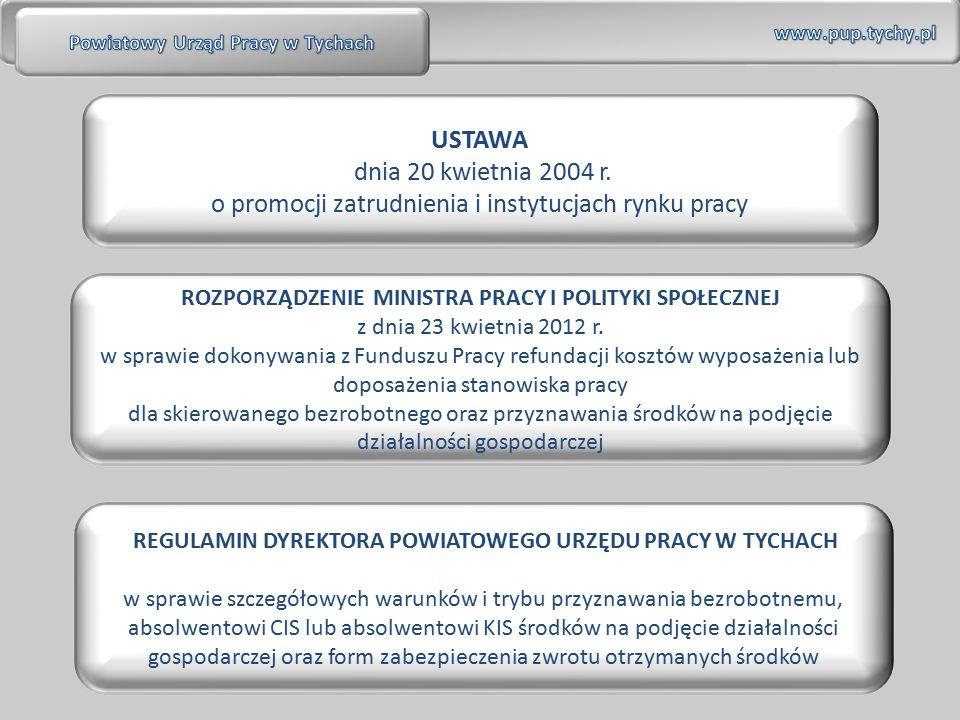 USTAWA dnia 20 kwietnia 2004 r. o promocji zatrudnienia i instytucjach rynku pracy ROZPORZĄDZENIE MINISTRA PRACY I POLITYKI SPOŁECZNEJ z dnia 23 kwiet