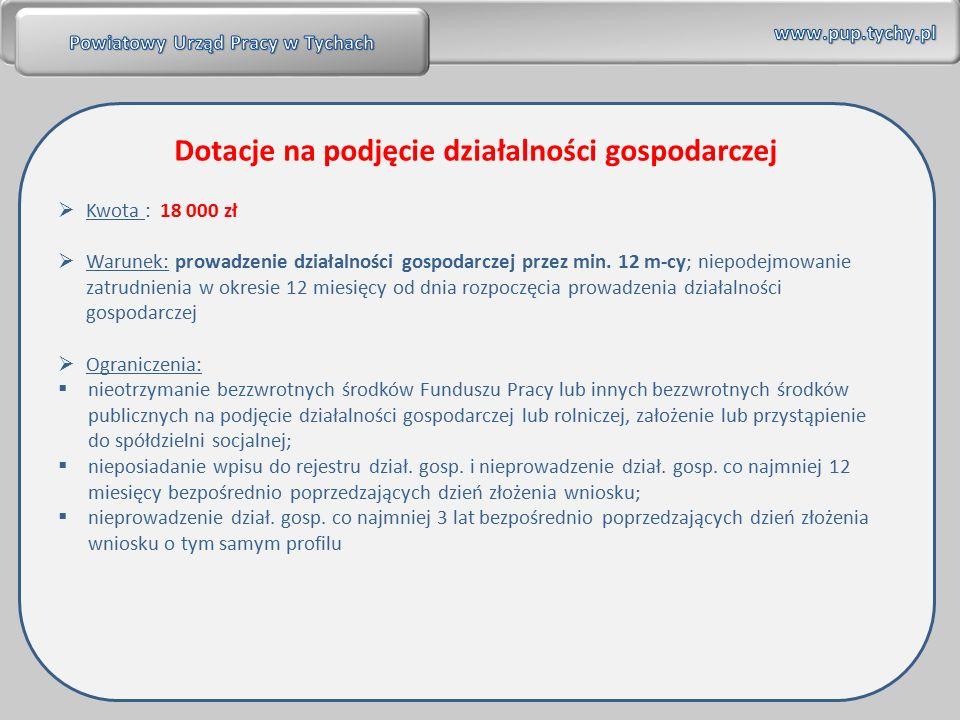  Kwota : 18 000 zł  Warunek: prowadzenie działalności gospodarczej przez min.