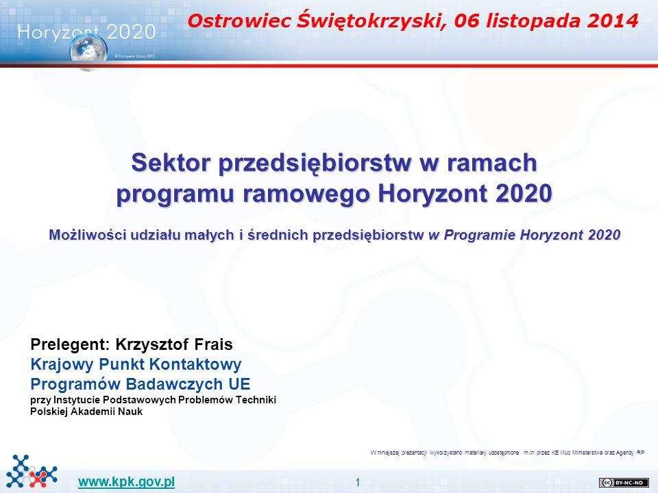 1 www.kpk.gov.pl Sektor przedsiębiorstw w ramach programu ramowego Horyzont 2020 Możliwości udziału małych i średnich przedsiębiorstw w Programie Hory