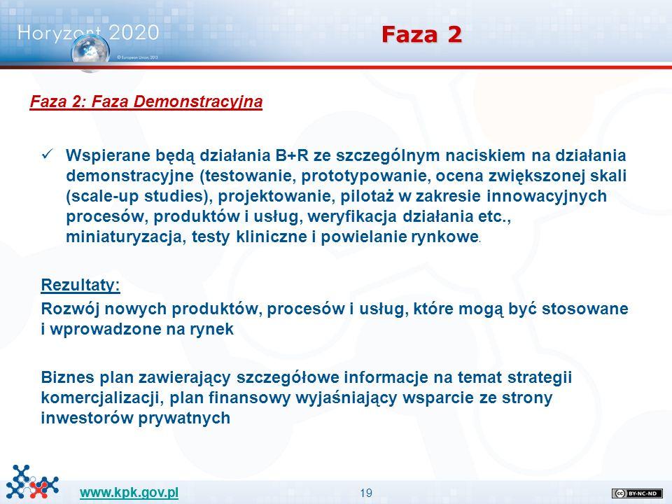 19 www.kpk.gov.pl Faza 2 Wspierane będą działania B+R ze szczególnym naciskiem na działania demonstracyjne (testowanie, prototypowanie, ocena zwiększonej skali (scale-up studies), projektowanie, pilotaż w zakresie innowacyjnych procesów, produktów i usług, weryfikacja działania etc., miniaturyzacja, testy kliniczne i powielanie rynkowe.