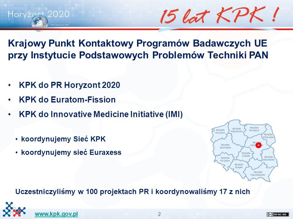2 www.kpk.gov.pl Krajowy Punkt Kontaktowy Programów Badawczych UE przy Instytucie Podstawowych Problemów Techniki PAN KPK do PR Horyzont 2020 KPK do E