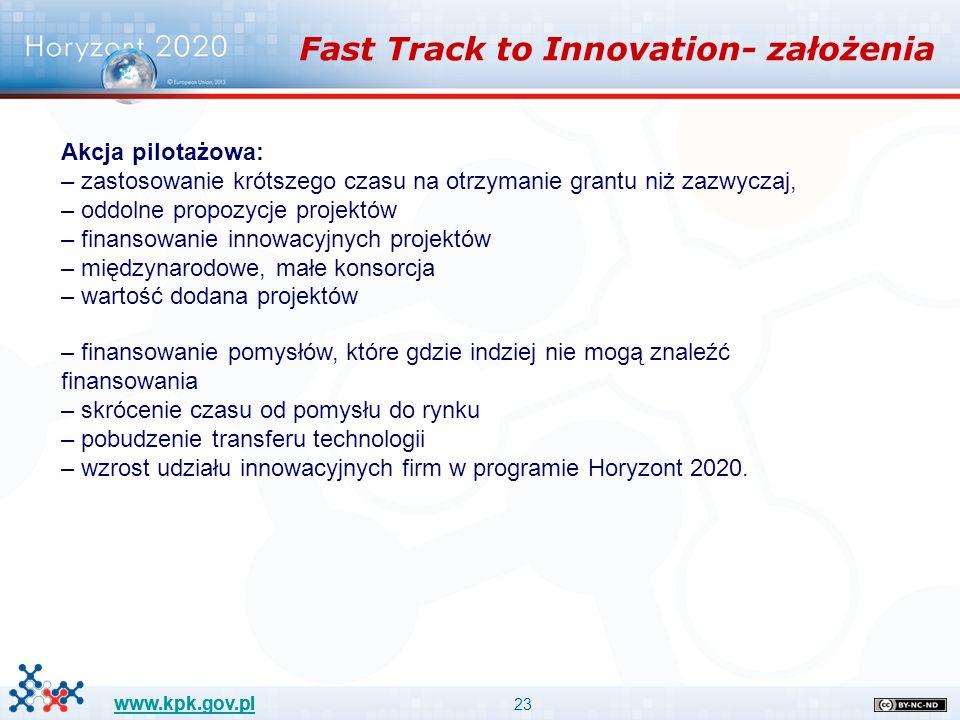 23 www.kpk.gov.pl Fast Track to Innovation- założenia Akcja pilotażowa: – zastosowanie krótszego czasu na otrzymanie grantu niż zazwyczaj, – oddolne propozycje projektów – finansowanie innowacyjnych projektów – międzynarodowe, małe konsorcja – wartość dodana projektów – finansowanie pomysłów, które gdzie indziej nie mogą znaleźć finansowania – skrócenie czasu od pomysłu do rynku – pobudzenie transferu technologii – wzrost udziału innowacyjnych firm w programie Horyzont 2020.