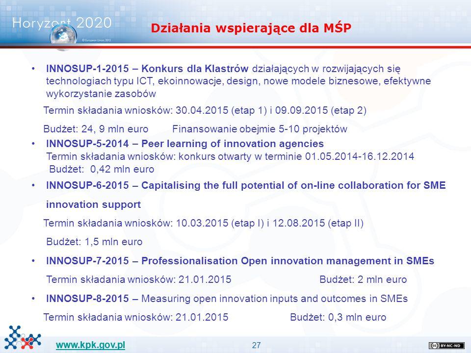 27 www.kpk.gov.pl INNOSUP-1-2015 – Konkurs dla Klastrów działających w rozwijających się technologiach typu ICT, ekoinnowacje, design, nowe modele biznesowe, efektywne wykorzystanie zasobów Termin składania wniosków: 30.04.2015 (etap 1) i 09.09.2015 (etap 2) Budżet: 24, 9 mln euro Finansowanie obejmie 5-10 projektów INNOSUP-5-2014 – Peer learning of innovation agencies Termin składania wniosków: konkurs otwarty w terminie 01.05.2014-16.12.2014 Budżet: 0,42 mln euro INNOSUP-6-2015 – Capitalising the full potential of on-line collaboration for SME innovation support Termin składania wniosków: 10.03.2015 (etap I) i 12.08.2015 (etap II) Budżet: 1,5 mln euro INNOSUP-7-2015 – Professionalisation Open innovation management in SMEs Termin składania wniosków: 21.01.2015 Budżet: 2 mln euro INNOSUP-8-2015 – Measuring open innovation inputs and outcomes in SMEs Termin składania wniosków: 21.01.2015 Budżet: 0,3 mln euro Działania wspierające dla MŚP