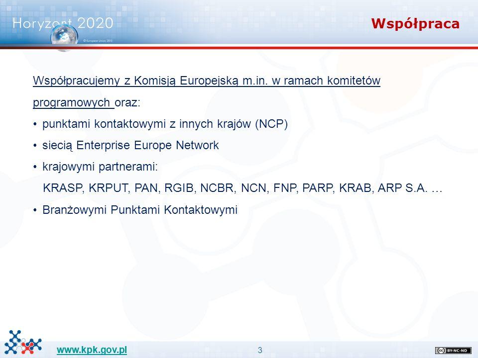 """24 www.kpk.gov.pl Fast Track to Innovation – od 2015 roku Schemat dostępny dla każdego podmiotu posiadającego osobowość prawną, konsorcja nie większe niż 5 podmiotów Dofinansowanie innowacyjnych akcji (close to market) Dowolny temat z zakresu obszarów Wyzwania Społeczne i Wiodąca Rola Przemysłu (bottom-up-driven logic) Grant do 3 mln euro (but no comitology) Konkurs otwarty z wyznaczonymi 3 datami składania wniosków Time to grant: 6 miesięcy Warunek: w ciągu roku rozwiązanie powinno znaleźć się na rynku 2 modele FT2I: model A dla konsorcjów i model B dla spin-offów W czasie oceny wniosków najważniejszy będzie """"Impact Artykuł 54 """"Rules of Participation"""