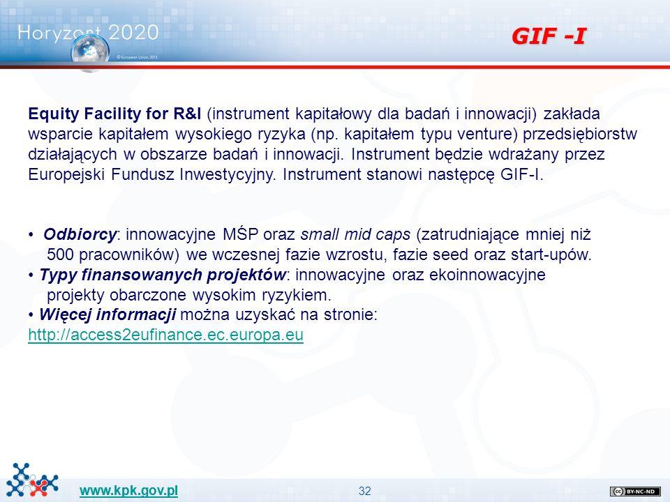 32 www.kpk.gov.pl GIF -I Equity Facility for R&I (instrument kapitałowy dla badań i innowacji) zakłada wsparcie kapitałem wysokiego ryzyka (np.