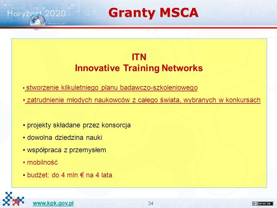 34 www.kpk.gov.pl Granty MSCA ITN Innovative Training Networks stworzenie kilkuletniego planu badawczo-szkoleniowego zatrudnienie młodych naukowców z całego świata, wybranych w konkursach projekty składane przez konsorcja dowolna dziedzina nauki współpraca z przemysłem mobilność budżet: do 4 mln € na 4 lata