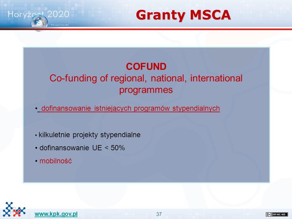 37 www.kpk.gov.pl COFUND Co-funding of regional, national, international programmes dofinansowanie istniejących programów stypendialnych kilkuletnie projekty stypendialne dofinansowanie UE < 50% mobilność Granty MSCA
