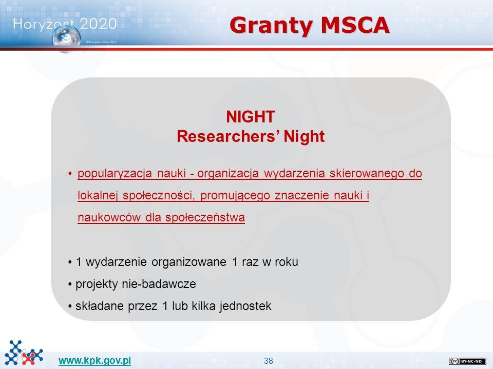 38 www.kpk.gov.pl NIGHT Researchers' Night popularyzacja nauki - organizacja wydarzenia skierowanego do lokalnej społeczności, promującego znaczenie n